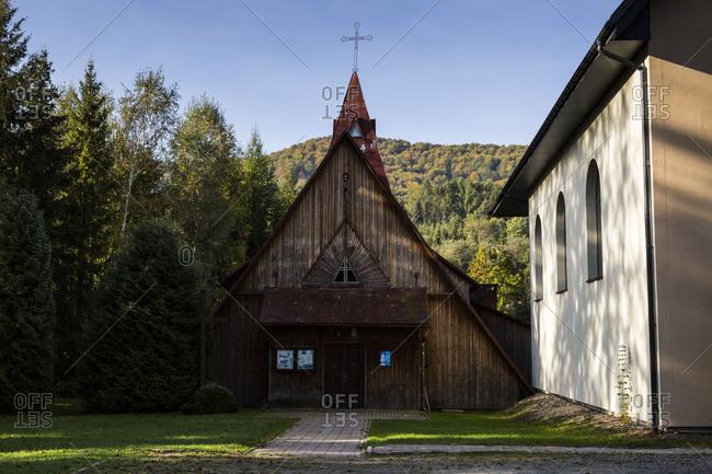 Europe, Poland, Podkarpackie Voivodeship, Bieszczady, Wetlina Bieszczady National Park, wooden church