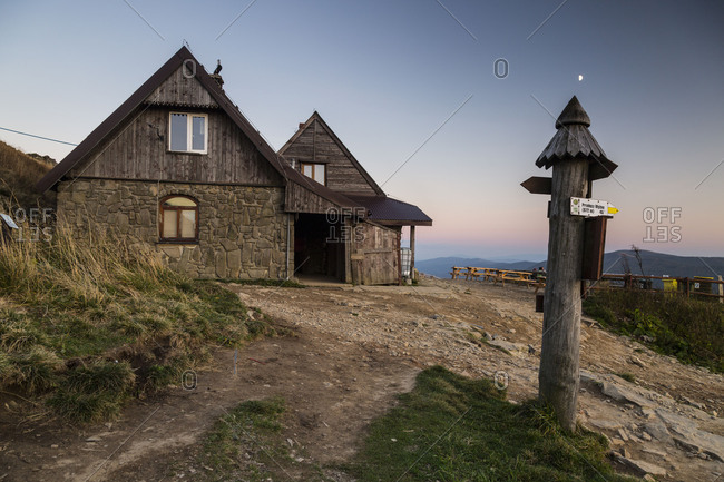 Europe, Poland, Podkarpackie Voivodeship, Bieszczady, Polonina Wetlinska Bieszczady National Park, Chatka Puchatka