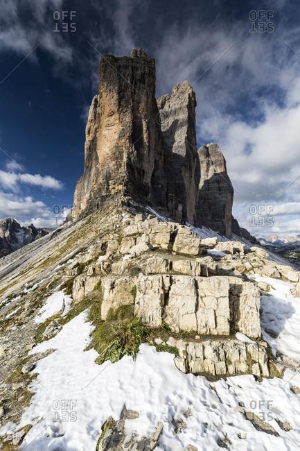 Europe, Italy, Alps, Dolomites, Mountains, Tre Cime di Lavaredo. View from Forcella di Lavaredo. Lavaredo Pass Sexten Dolomites