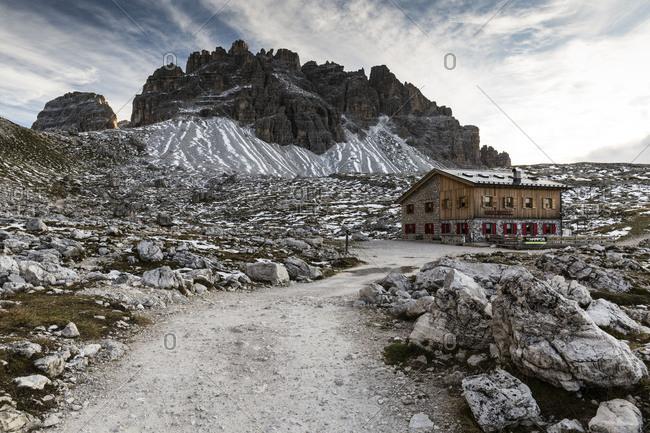 October 26, 2017: Europe, Italy, Alps, Dolomites, Sexten Dolomites, Veneto, Belluno, Rifugio Lavaredo