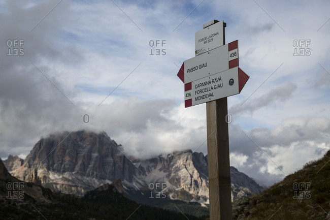 October 26, 2017: Europe, Italy, Alps, Dolomites, Mountains, Veneto, Belluno, Giau Pass