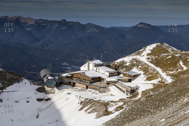 November 24, 2017: Europe, Germany, Bavaria, Alps, Mountains, Mittenwald, Karwendelbahn