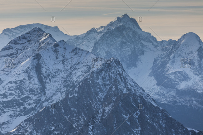 Europe, Germany, Bavaria, Alps, Mountains, Mittenwald, View from Karwendel