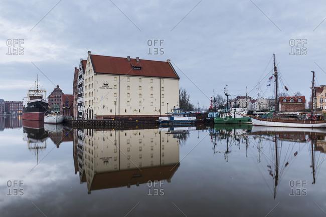 February 21, 2018: Europe, Poland, Pomerania, Gdansk/Danzig, Motlawa River, Old Town
