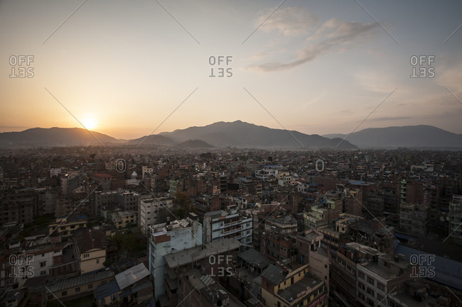 Sunset over the city of Kathmandu