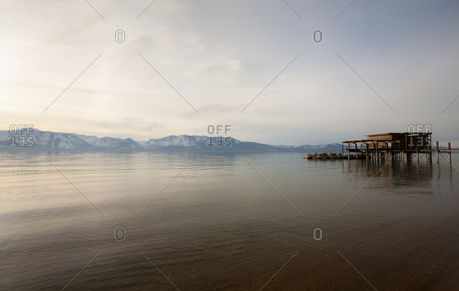 Old dock and pier on Lake Tahoe in the winter