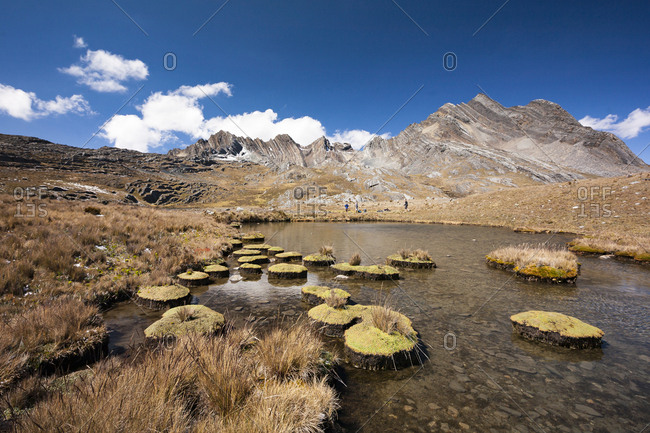 View of mountains, peaks, and high altitude lake in the Andes mountains of Peru