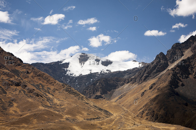 Scenic view of snow-capped peak in the Andes mountains of Peru