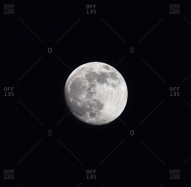 Supermoon as it rises in the night sky