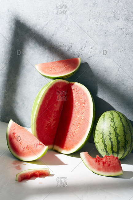 Still life of sliced watermelon slices