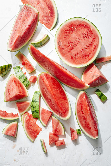 Overhead view of interestingly sliced watermelon