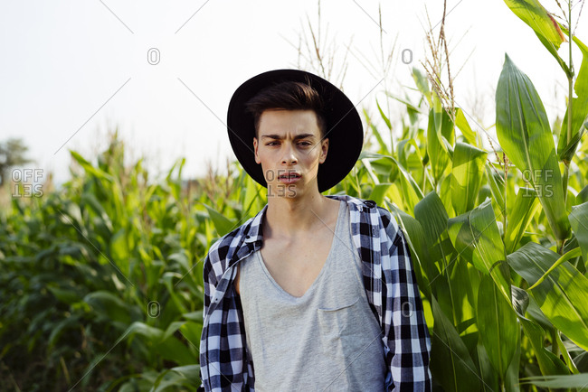 Handsome country boy with hat posing on a cornfield on a sunny day