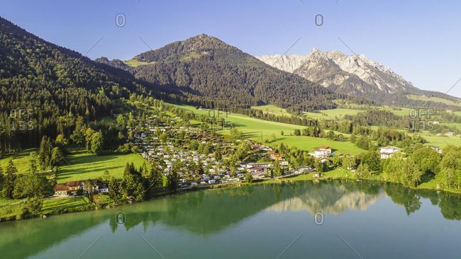 Austria- Tyrol- Kaiserwinkl- Aerial view of lake Walchsee