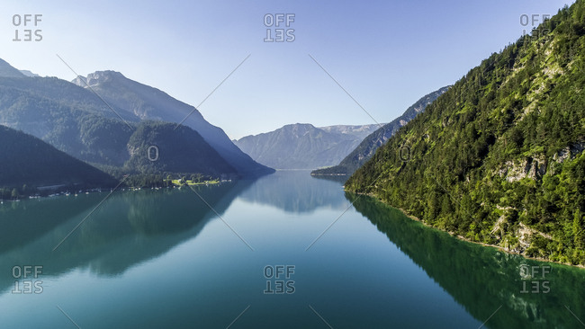 Austria- Tyrol- Lake Achensee in the morning- View to Klobenjoch- Hochiss and Seekarspitze