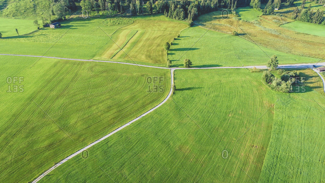 Austria- Tyrol- Kufsteinerland- Aerial view of fields and meadows