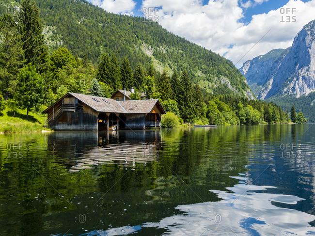 Austria- Styria- Altaussee- boathouse at Altausseer See