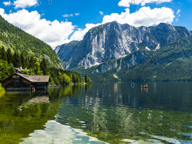 Austria- Styria- Altaussee- boathouse at Altausseer See with Trisselwand at in the background
