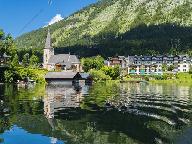 Austria- Styria- Altaussee- view to St Giles Church at Altausseer See