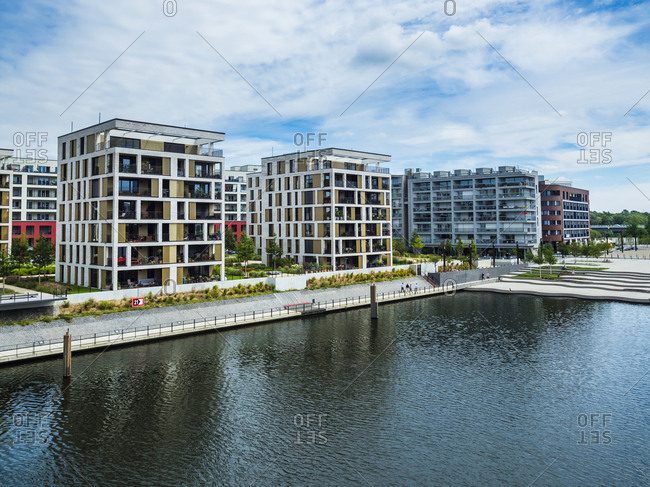 Germany- Hesse- Offenbach- modern architecture at harbor