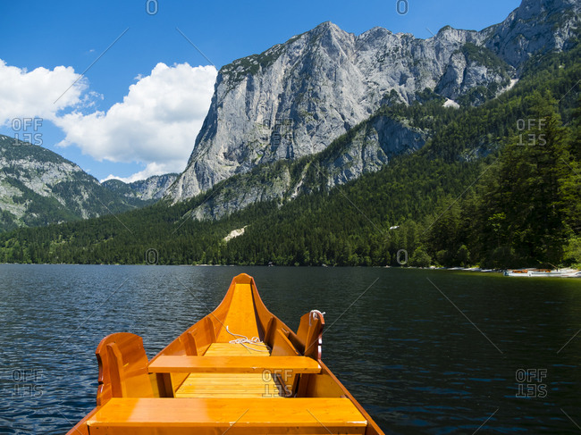 Austria- Styria- Altaussee- boat on Altausseer See with Trisselwand at in the background