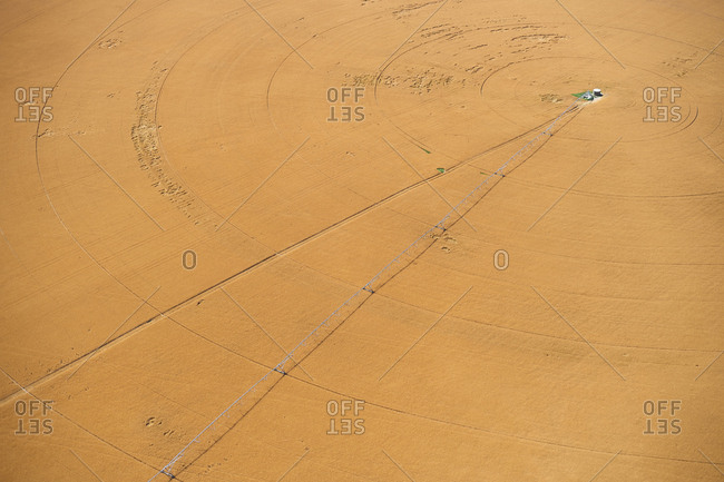 USA- Aerial of irrigated wheat field in Eastern Colorado- USA