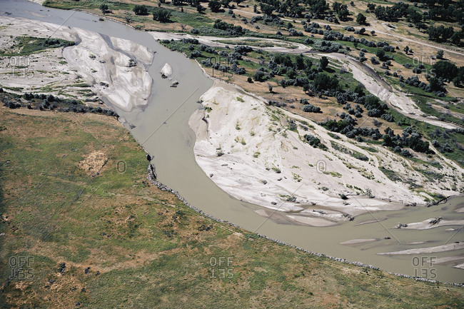 USA- Aerial of the Platte River in Western Nebraska