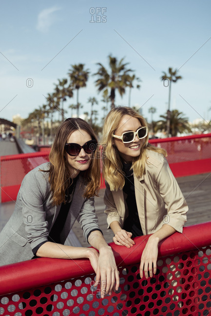 Portrait of two fashionable young women wearing sunglasses