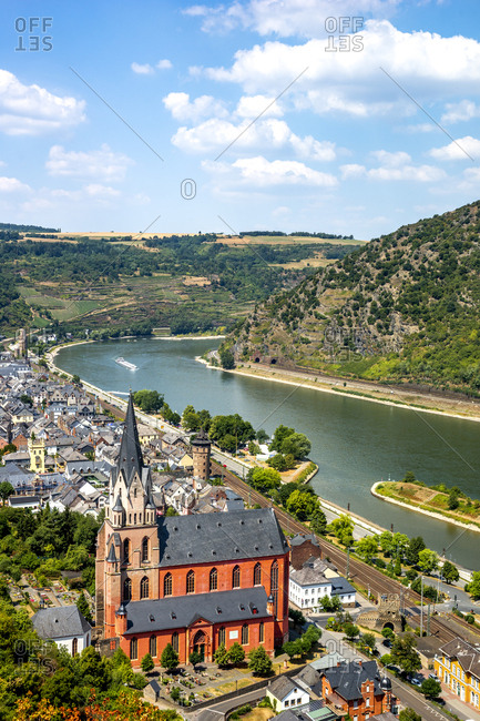 Germany- Rhineland-Palatinate- Middle Rhine Valley- Oberwesel and Church of Our Lady- Middle Rhine