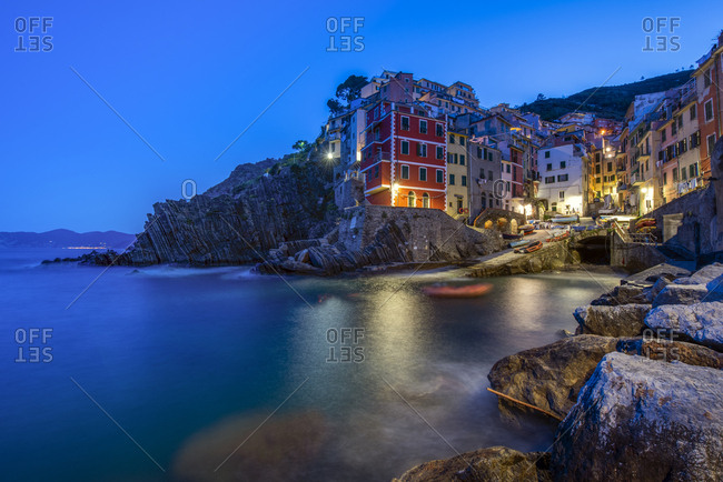 April 17, 2017: Italy- Liguria- La Spezia- Cinque Terre National Park- Riomaggiore at blue hour