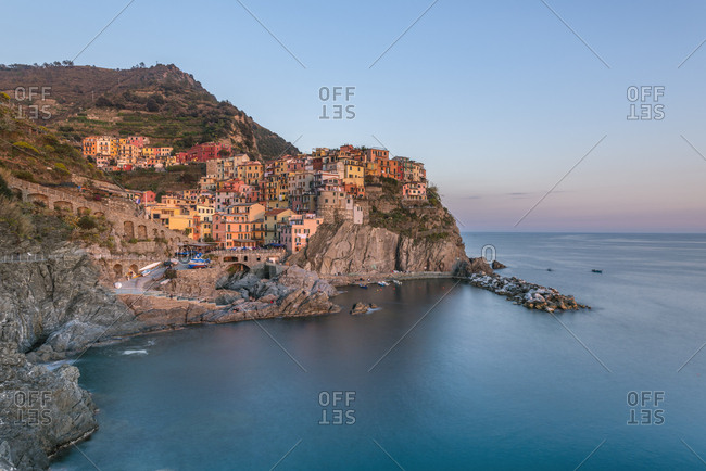 Italy- Liguria- La Spezia- Cinque Terre National Park- Manarola in the evening light