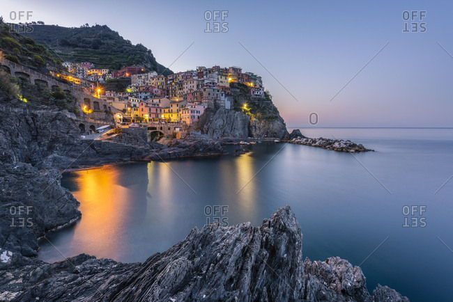 Italy- Liguria- La Spezia- Cinque Terre National Park- Manarola in the evening light
