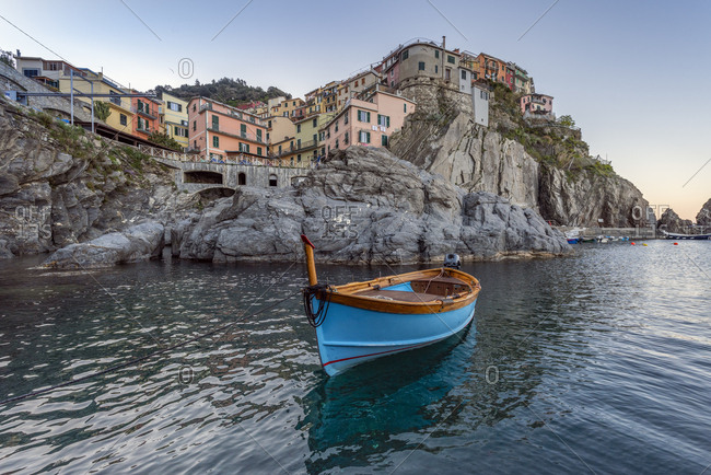 Italy- Liguria- La Spezia- Cinque Terre National Park- Manarola- empty blue fishing boat