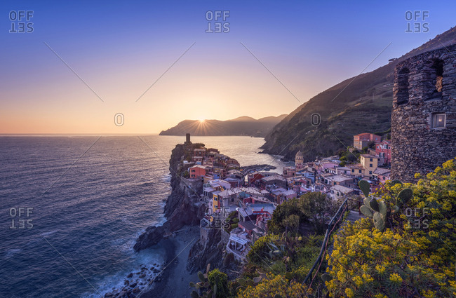 Italy- Liguria- La Spezia- Cinque Terre National Park- Vernazza at sunset