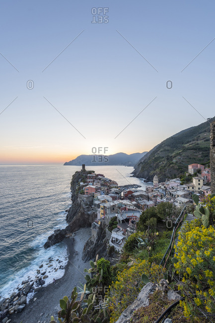 Italy- Liguria- La Spezia- Cinque Terre National Park- Vernazza in the evening light