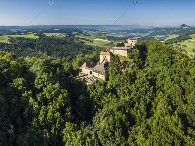 Germany- Baden-Wurttemberg- Rems Valley- Ruin of Castle Hoher Rechberg
