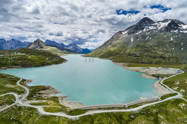 Switzerland- Graubuenden Canton- Aerial view of Lago Bianco and Bernina Pass