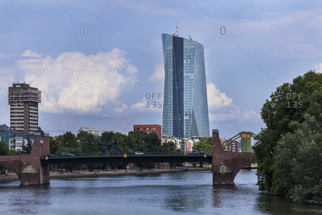Germany- Frankfurt- view to European Central Bank with Old Bridge over Main River in the foreground