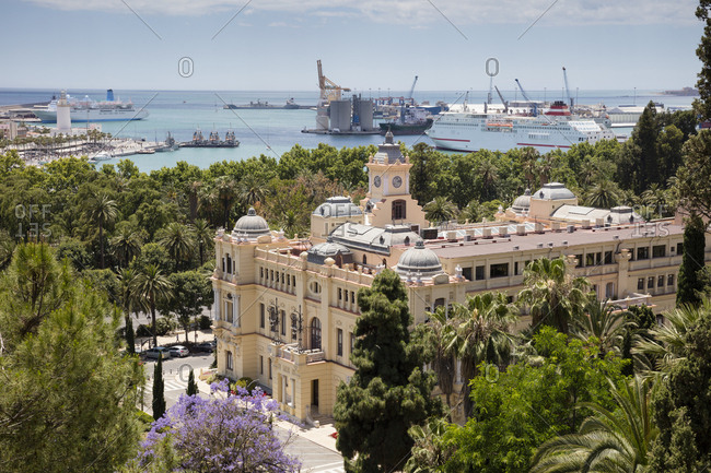 Spain- Andalusia- Malaga- town hall and harbor in the background