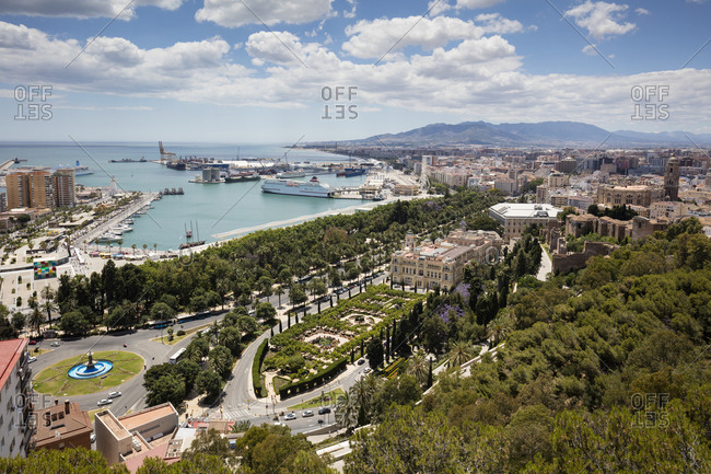 Spain- Andalusia- Malaga- Old town- town hall and harbor
