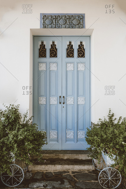 Door of a traditional house in Cadaques, Spain