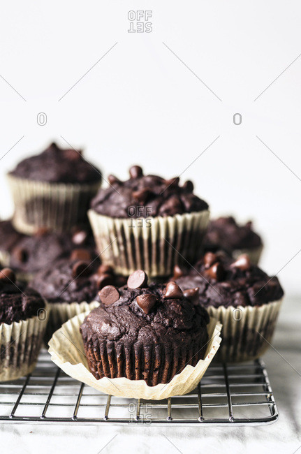 Vegan chocolate zucchini muffins with chocolate chips