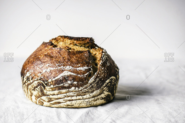 Crusty overnight bread with white background