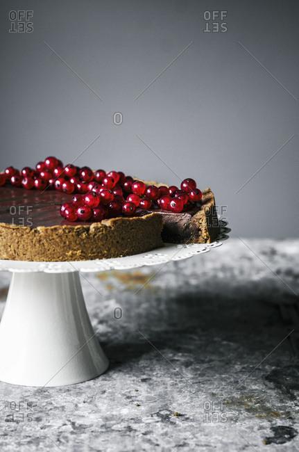 Chocolate hazelnut tart with redcurrants