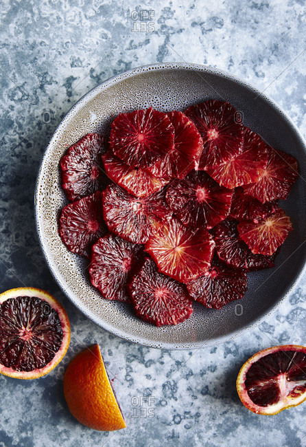 Freshly sliced blood oranges