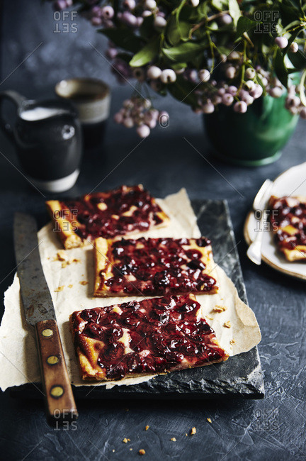 Slices of Sour cherry tart.
