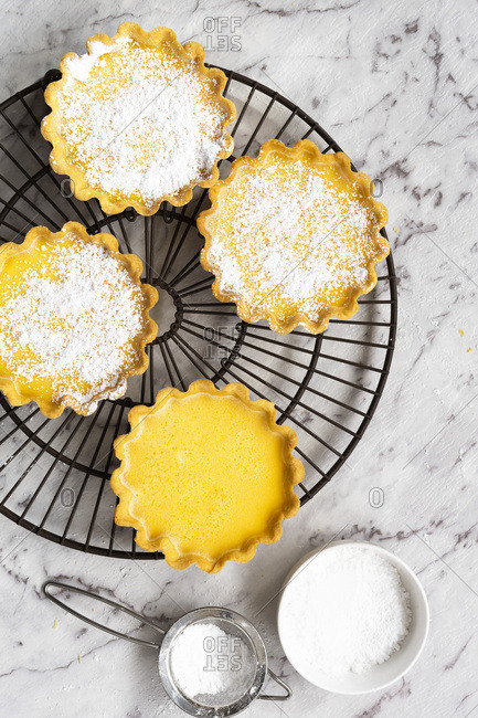 Lemon tarts dusted with icing sugar on a cake rack.