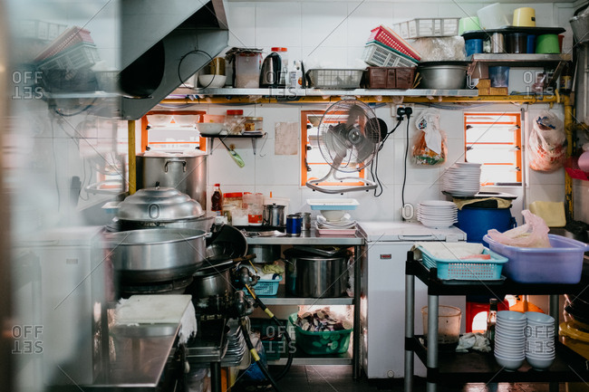Singapore, Singapore - December 26, 2017: Hawker stall kitchen