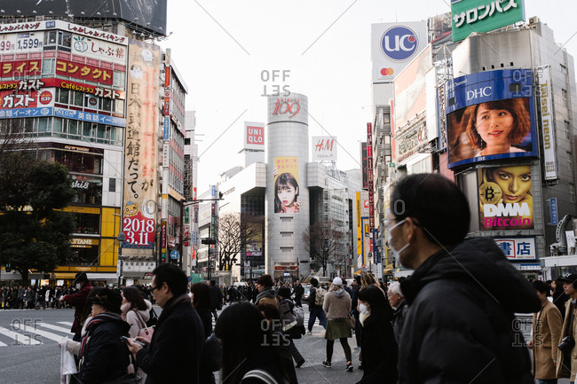 Tokyo, Japan - February 9, 2018: Shibuya crossing