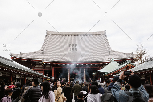 Tokyo, Japan - February 11, 2018: Japanese temple