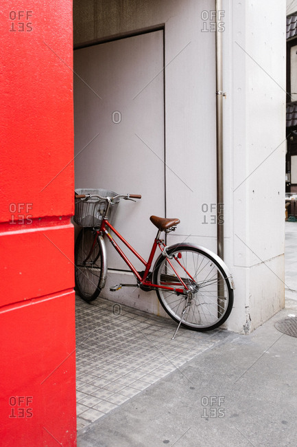 Tokyo, Japan - February 11, 2018: Red bicycle